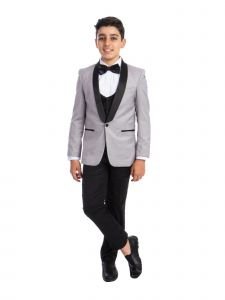 Perry Ellis Little Boys Light Grey 4 Piece Special Occasion Tuxedo 7