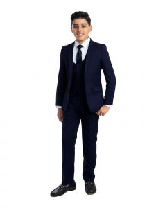 Perry Ellis Big Boys Navy 5 Piece Classic Formal Special Occasion Suit 8-20