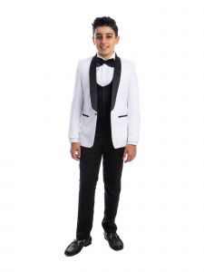 Perry Ellis Little Boys White 4 Piece Special Occasion Tuxedo 7