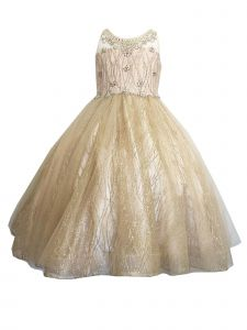 Petite Adele Girls Glitter Mesh Overlay Christmas Flower Girl Dress 2T-16