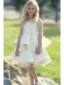 Petite Adele Girls Floral Jacquard Layered Flower Girl Dress 2T-12
