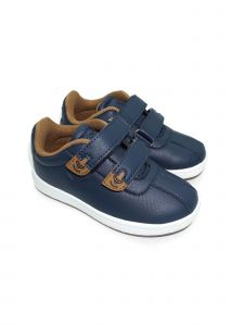 Pipiolo Boys Navy Tan Adhesive Strap Casual Sneakers 4 Baby-10 Toddler