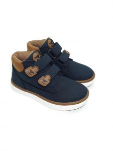 Pipiolo Boys Navy High Top Double Adhesive Strap Sneakers 4 Baby-10 Toddler