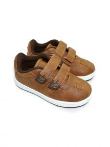 Pipiolo Boys Tan Brown Adhesive Strap Casual Sneakers 4 Baby-10 Toddler