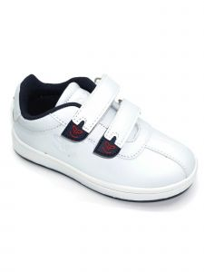 Pipiolo Boys White Navy Adhesive Strap Casual Sneakers 4 Baby-10 Toddler