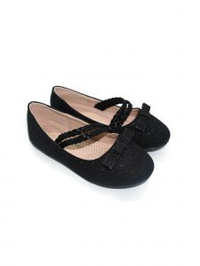 Pipiolo Girls Black Bow Double Strap Mary Jane Ballerina Flats 4 Baby-10 Toddler