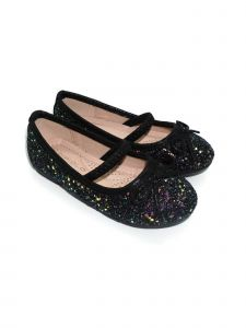 Pipiolo Girls Black Sparkling Mary Jane Ballerina Flats 4 Baby-10 Toddler
