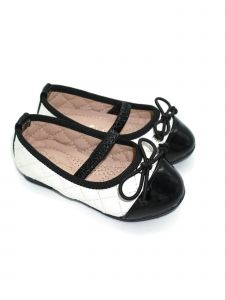 Pipiolo Girls Black White Bow Mary Jane Ballerina Flats 4 Baby-10 Toddler