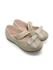 Pipiolo Girls Gold Bow Double Strap Mary Jane Ballerina Flats 4 Baby-10 Toddler