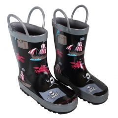 Black Pirates Toddler Boys Rain Boots 5-10