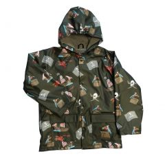 Little Boys Black Pirates Rain Coat 2T-6