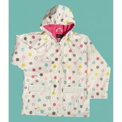 Little Girls White Polka Dots Rain Coat 2T-6