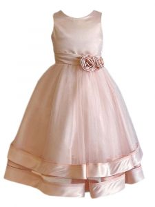 Princess Kloset  Girls Multi-Color Satin Tulle Overlay Flower Girl Dress 2T-12