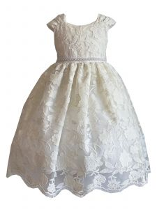 Princess Kloset Big Girls White Sofia Scallope Lace Junior Bridesmaid Dress 8-12