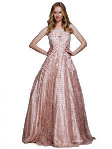 Amelia Couture Womens Blush Beaded Lace Netting Halter Maxi Dress 2-14