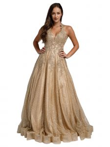Amelia Couture Womens Gold Beaded Lace Netting Halter Maxi Dress 2-14