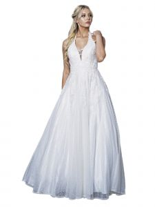 Amelia Couture Womens White Beaded Lace Netting Halter Maxi Dress 2-18
