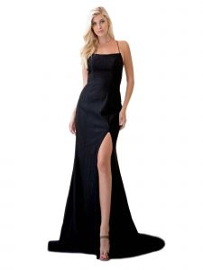 Amelia Couture Womens Black Glitter Corset Back Fitted Maxi Dress 2-14
