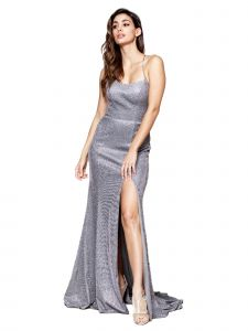 Amelia Couture Womens Silver Glitter Corset Back Fitted Maxi Dress 2-14