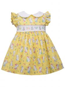 Bonnie Jean Baby Girls Yellow Peter Pan Collar Bunny Insert Easter Dress 0-24M