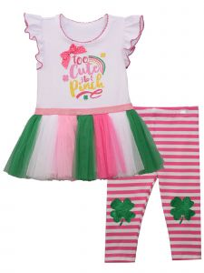 Bonnie Jean Baby Girls Pink Too Cute To Pinch Shamrock Legging Outfit 0-24M