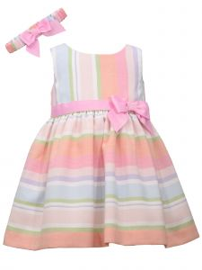 Bonnie Jean Baby Girls Multi Color Striped Headband Ribbon Easter Dress 0-24M