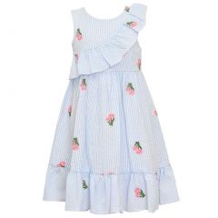 Bonnie Jean Baby Girls Blue Stripe Flower Detail Knee-Length Easter Dress 3-24M
