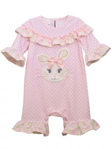 Bonnie Jean Baby Girls Pink Ruffled Yoke Bunny Applique Coverall Romper 12-24M
