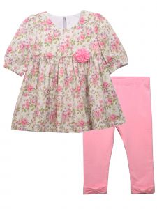 Bonnie Jean Baby Girls Pink Chiffon Flower Applique Bow Legging Outfit 12-24M