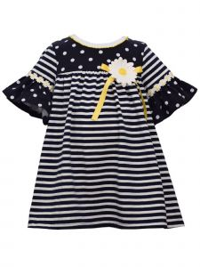 Bonnie Jean Baby Girls Navy White Dot Stripe Daisy Trim Applique Dress 12-24M
