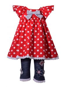 Bonnie Jean Baby Girls Red Polka Dots Flutter Sleeve Capri Outfit 12-24M