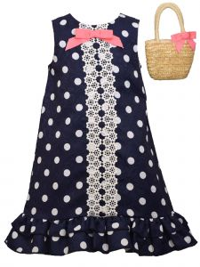 Bonnie Jean Little Girls Navy Dot Lace Front Panel Straw Handbag Dress 2T-6X