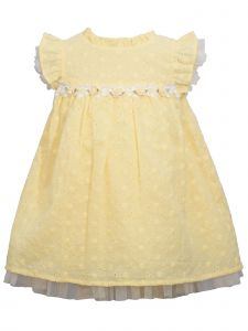 Bonnie Jean Little Girls Yellow Eyelet Roses Trim Easter Dress 2-4T