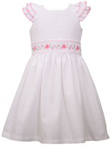 Bonnie Jean Little Girls White Triple Flutter Sleeve Check Easter Dress 2T-6X