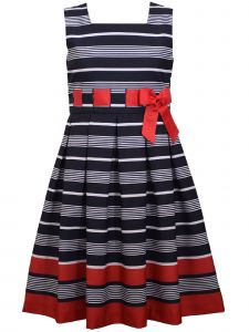 Bonnie Jean Little Girls Navy Stripe Pleated Waistline Ribbon Bow Dress 4-6X