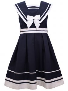 Bonnie Jean Big Girls Navy White Sailor Collar Nautical Ribbon Bow Dress 14
