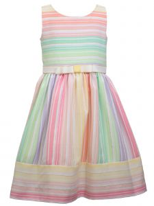 Bonnie Jean Big Girls Multi Color Linen Look Striped Ribbon Easter Dress 7-16