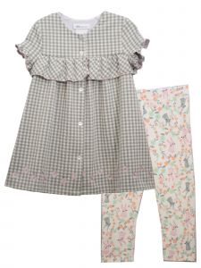 Bonnie Jean Little Girls Gray Crinkle Top Bunny Legging Easter Outfit 2T-6X