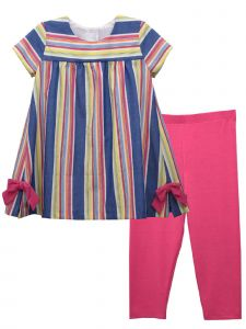 Bonnie Jean Little Girls Rose Stripe Slits Bow Appliques Legging Outfit 2T-6X