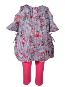 Bonnie Jean Little Girls Red Striped Floral Print Cold Shoulder Outfit 4-6X