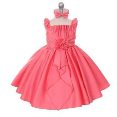 Rain Kids Coral Satin Jewel Ruffle Pageant Dress Baby Girls 6M-24M