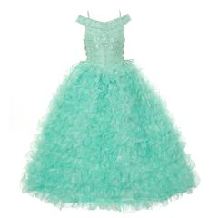 Rain Kids Big Girls Mint Beads Straps Ruffle Organza Pageant Dress 8-14
