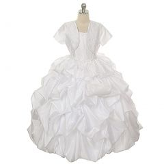 Rain Kids White Silk Taffeta Pick Up Special Occasion Dress Girl 2T-20