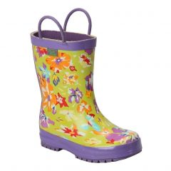 Pluie Pluie Little Girls Lime Purple Flower Rain Boots 11-2 Kids