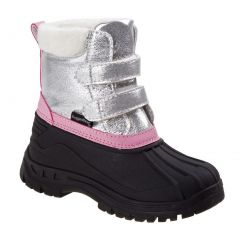 Rugged Bear Girls Silver Black Hook And Loop Snow Boots 6 Toddler-4 Kids