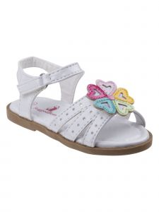 Rugged Bear Little Girls White Heart Flower Applique Sandals 5 Toddler-11 Kids