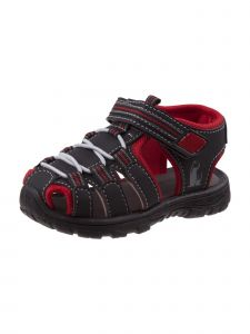 Rugged Bear Boys Black Red Caged Closed Toe Athletic Sandals 11-4 Kids