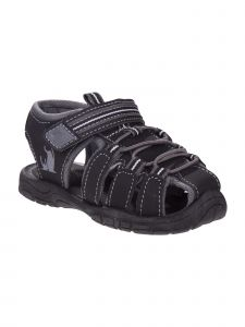 Rugged Bear Boys Black Grey Elastic Hook And Loop Sandals 12 Kids