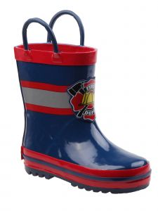 "Rugged Bear Boys Navy Red ""Fire Dept"" Print Rubber Rain Boots 11-4 Kids"