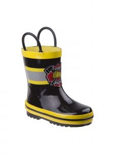 "Rugged Bear Boys Black Yellow ""Fire Dept"" Print Rubber Rain Boots 11-4 Kids"